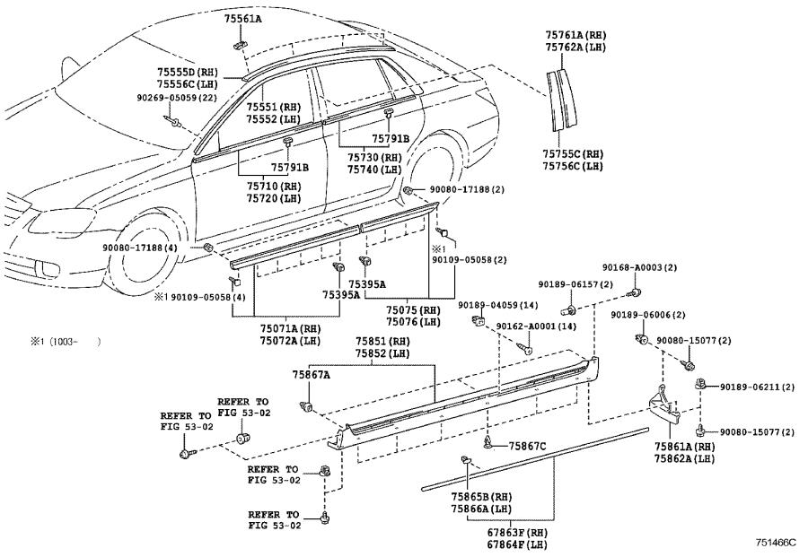 Diagram SIDE MOULDING for your 2001 Toyota Camry